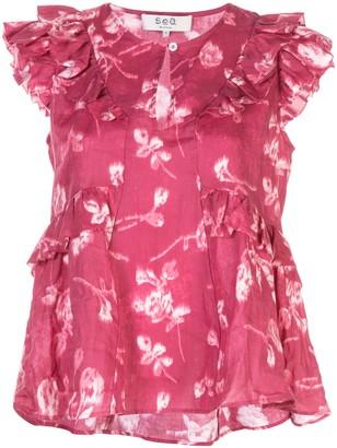 Sea floral blouse