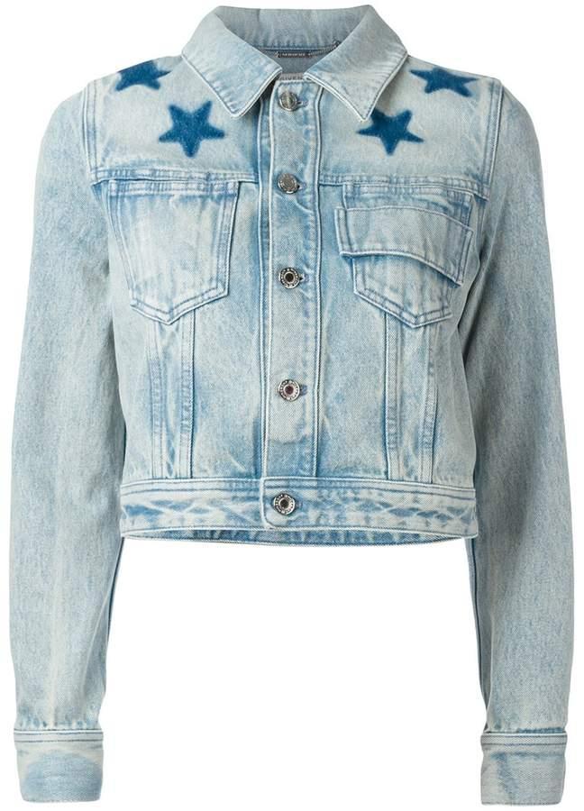 Givenchy star print bleached denim jacket