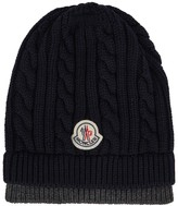 Moncler Navy Cable-knit Wool Beanie