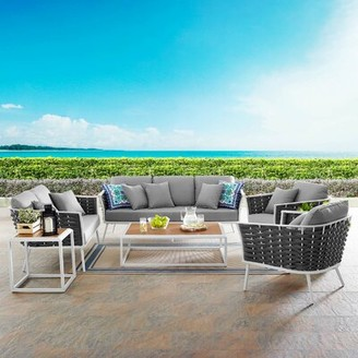 Grandfield Stance Outdoor 5 Piece Rattan Sofa Seating Group Set with Cushions Brayden Studio Cushion Color: Gray