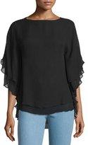 Michael Kors Half-Sleeve Layered Top, Black
