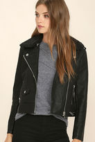 Obey Billie Black Vegan Leather Moto Jacket