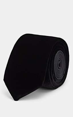 Lanvin Men's Velvet & Silk Satin Necktie - Black