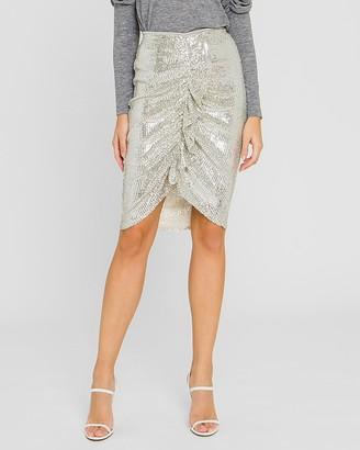 Express Endless Rose High Waisted Sequin Ruffle Front Skirt