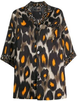 R 13 Leopard-Print Loose-Fit Shirt