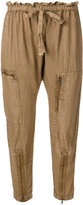 Current/Elliott drawstring zip-embellished trousers - women - Linen/Flax - 1