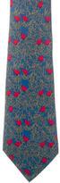 Hermes Bird Print Silk Tie