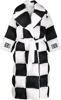 Off-White Checkered Puffer Coat