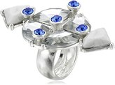"""m. haskell Fashion Jewelry """"Tribal Glam"""" Blue Multi-Faceted Stone Ring, Size 7"""