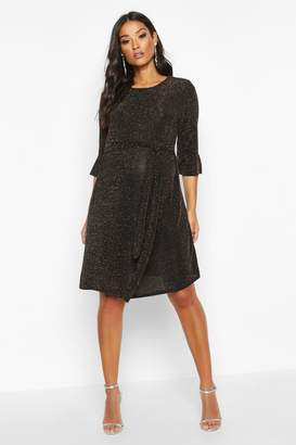 boohoo Maternity Ruffle Sleeve Shimmer Smock Dress