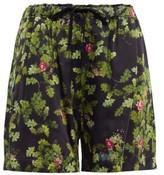Preen by Thornton Bregazzi Isabel Leaf-print Satin Shorts - Womens - Black Green