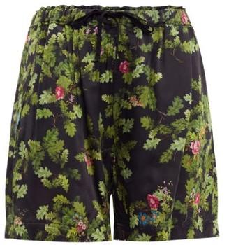Preen by Thornton Bregazzi Isabel Leaf Print Satin Shorts - Womens - Black Green