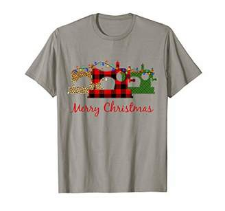 Merry Sewing Machine Christmas Light Quilting Fabric Shirt T-Shirt