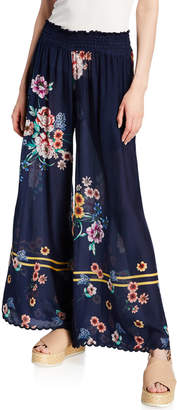 Johnny Was Mariah Floral-Print Smocked-Waist Wide-Leg Georgette Pants