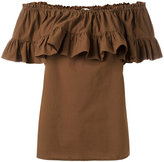 Hache gathered off-shoulder blouse - women - Cotton/Spandex/Elastane - 42