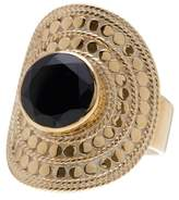 Anna Beck 18K Gold Plated Black Onyx Large Cocktail RIng