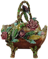 One Kings Lane Vintage 19th-C. Majolica Flowers Basket