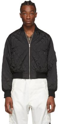 Random Identities Black Quilted Bomber Jacket