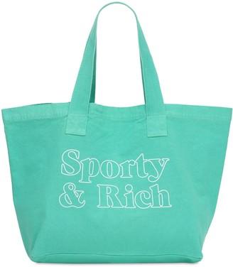 Sporty & Rich Logo Print Cotton Tote Bag