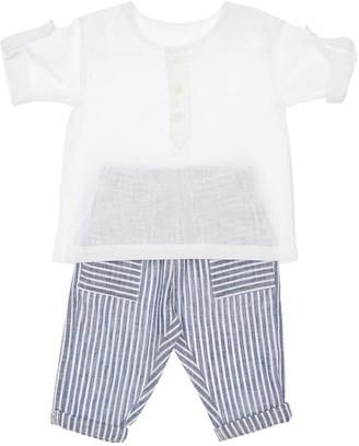 Linen Blend Shirt & Striped Pants