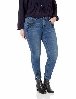 Lucky Brand Women's Plus Size MID Rise Embroidered Lolita Skinny Jean in Gemini 14W