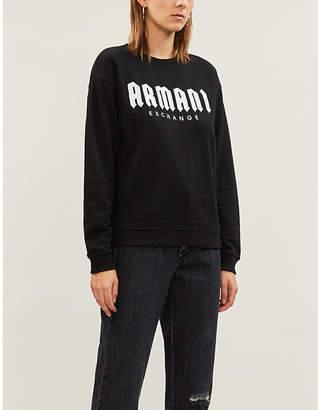 Armani Exchange Logo-embroidered cotton-blend sweatshirt