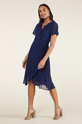 Yumi Frill Wrap Dress With Tassel Detail