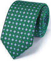 Charles Tyrwhitt Slim Green Silk Classic Floral Tie