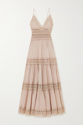 Charo Ruiz Ibiza Cindy Tiered Crocheted Lace-paneled Cotton-blend Voile Maxi Dress - Taupe