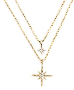 Aqua Cubic Zirconia Star Charm Layered Necklace, 16-18 - 100% Exclusive