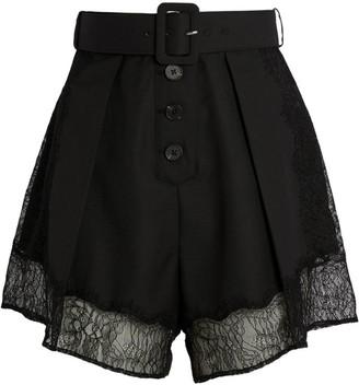 Self-Portrait Lace-Trim Belted Shorts