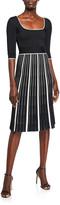 Herve Leger Striped-Skirt Half-Sleeve Dress