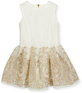 David Charles Sleeveless Embroidered Mesh Tulle Dress, White, Size 4-10