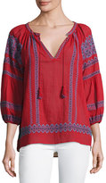 Joie Gauge Embroidered Peasant Top, Red
