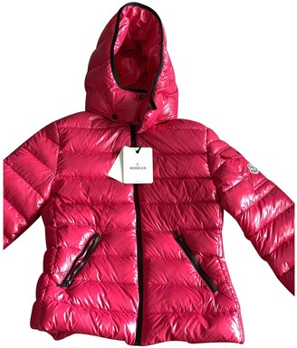 Moncler Hood Pink Leather Coat for Women