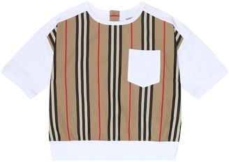 BURBERRY KIDS Icon Stripe cotton-jersey T-shirt