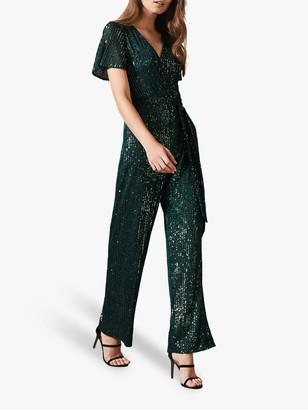 Phase Eight Alessandra Sequin Jumpsuit, Emerald