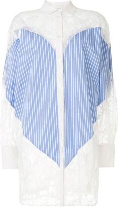 MSGM Lace Panel Shirt Dress