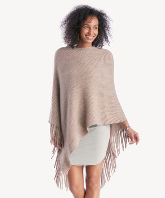 Sole Society Women's Striped Kit Poncho With Fringe Dusty Pink One Size From