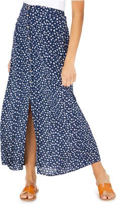 BeBop Juniors' Floral-Print Button-Front Maxi Skirt
