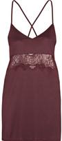 Hanro Estelle Lace-paneled Modal And Silk-blend Jersey Chemise - Burgundy