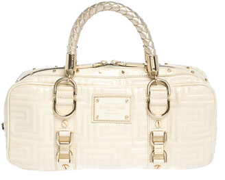Gianni Versace Light Cream Quilted Patent Leather Bowler Bag