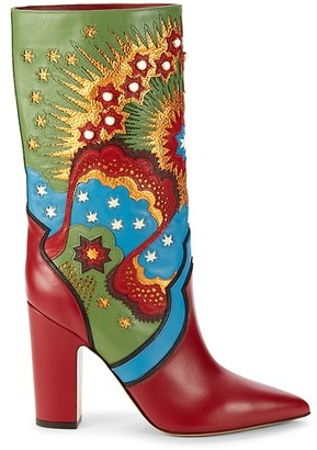 Valentino Embellished Leather Boots