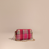 Burberry Overdyed Horseferry Check and Leather Clutch Bag, Red