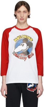 Moschino White and Red Chinese New Year Mickey Rat Long Sleeve T-Shirt