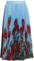 Dries Van Noten Pleated Floral Midi Skirt