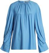 Emilia Wickstead Lauren gathered-cuff twill blouse