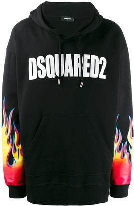 DSQUARED2 Logo Flame Print Hoodie