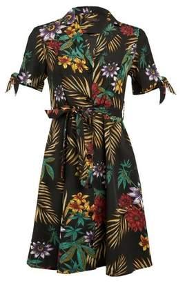 Dorothy Perkins Womens *Tenki Black Floral Print Shirt Dress, Black