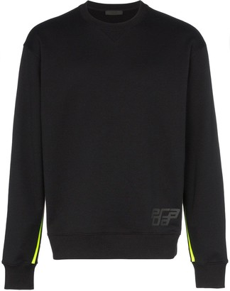Prada logo striped cotton sweatshirt